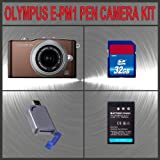 Olympus PEN E-PM1 Digital Camera (Brown) W/14-42mm Lens + Huge Accessories Package Including 32GB SDHC Memory Card + High Capacity PS-BLS-1 Replacement Lithium-Ion Battery + Hi-Speed SD Card Reader + Kit