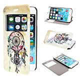 TUTUWEN View Window Painting Art Dream Catcher Style Design PU Leather Flip Stand Case Cover for Apple iPhone 6 Plus 55 inches
