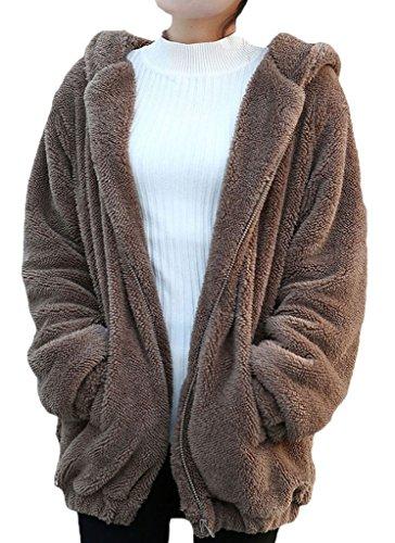 Minetom Donne Ragazza Inverno Sciolto Soffice Orecchie Orso Zipper Felpe Caldo Cappuccio Giacca Marrone One Size