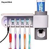 WAYCOM Toothpaste Squeezer and Holder Set Toothpaste Dispenser Family Toothbrush Sanitizer Sterilizer,5 Brush Holder (White)