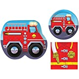 Firefighter Fire Truck 16 Child Birthday Party Bundle - 3 Items: Dinner Plates, Dessert Plates & Napkins