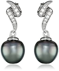 10k White Gold Diamond and Black Tahitian Cultured Pearl Drop Earrings (.12 Cttw, G-H Color, I2-I3 Clarity)