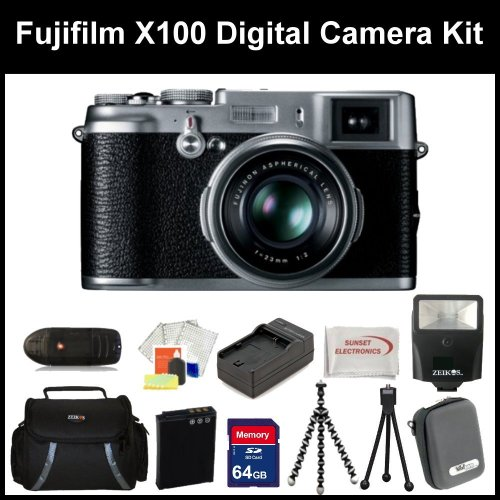 Fujifilm X100 Digital Camera Kit Includes: Fujifilm X-100 Camera, Extended Life Replacement Battery, Rapid Travel Charger, 64GB Memory Card, Memory Card Reader, Camera Flash & Much More..!