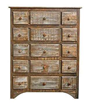 Rustic 7 Drawer Slatted Chest Solid Wood Western Shabby Chic Cream White Aged