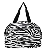 Black Nylon Zebra Print Handbag Purse Chrome Hardware