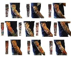 Outop Unisex Temporary Fake Slip on Tattoo Arm Sleeves Stockings 10pcs Random Color