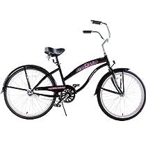 "Kids Bikes ""Black with Pink Wheels"" Ladies Beach Cruiser 24"" Deluxe"