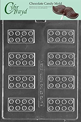 Cybrtrayd Building Blocks Chocolate Candy Mold with Exclusive Cybrtrayd Copyrighted Chocolate Molding Instructions