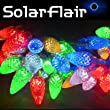 SolarFlair LED, solar-powered string lights (50 Sparkling Pendant style red, green, blue, yellow and white lights). Water and weather resistant to IP44 specification. Large (76 sq.cm.) Solar Panel