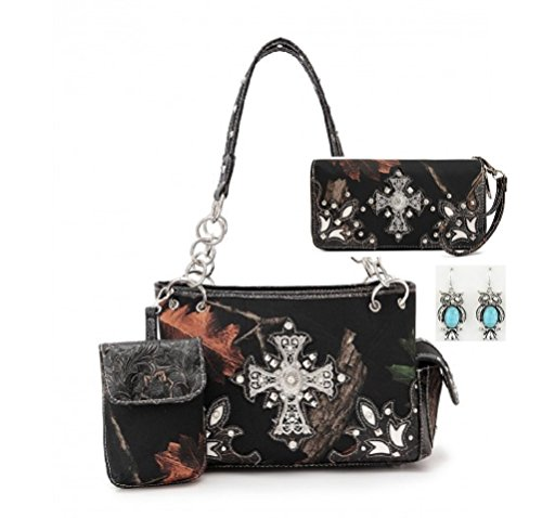 Western Camo Cross Shoulder Bag Camouflage Handbag Rhinestone Purse With Matching Wallet (BLACK)