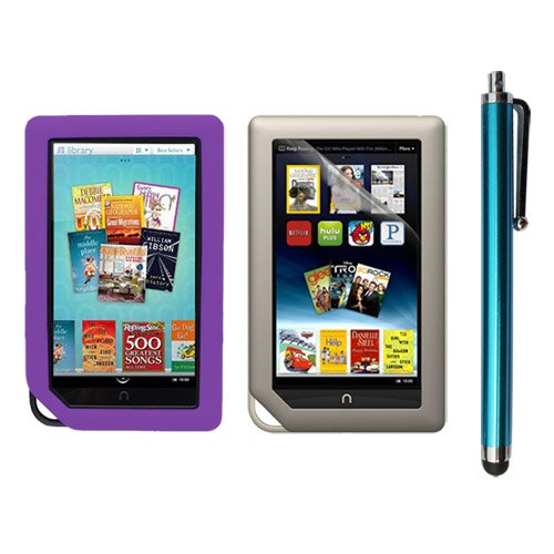 Skque Clear Screen Protector + Purple Soft Silicone Cover Case + Touch Screen Tablet/Smart Phone Stylus Pen(Blue Body) for Barnes&Noble Nook Color Ebook Reader