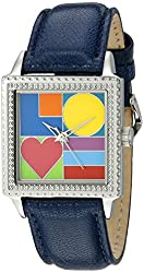 """The P.S. Collection by Arjang and Co. Women's PS-2008S-BL """"Mod Love"""" Stainless Steel Square Enamel Dial Blue Leather Strap Watch"""