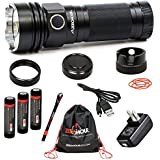 ZeroHour XD - Tactical Flashlight with integrated USB Battery Backup: 1,000 Lumen CREE XM-L2; 10,000mAh backup charging power; Rechargeable 3 x 3400mAh 18650 Li-ion batteries; Package includes: Lanyard, Drawstring bag, Carrying case, AC Adapter, USB charger cable, Waterproof Caps
