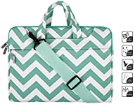 Laptop Shoulder Bag / Briefcase, Mosiso Chevron Hot Blue Canvas Fabric Carrying Case Bag for 12.9…