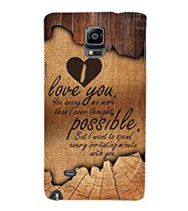 I Love you Cute Fashion 3D Hard Polycarbonate Designer Back Case Cover for Samsung Galaxy Note 4 :: Samsung Galaxy Note 4 N910G :: Samsung Galaxy Note 4 N910F N910K/N910L/N910S N910C N910FD N910FQ N910H N910G N910U N910W8