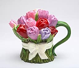 8 ounce Ceramic Multi-colored Tulip Bouquet Teapot with White Bow