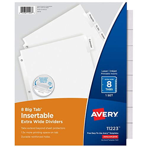 Avery Big Tab Insertable Extra Wide Dividers, 8 Clear Tabs, 1 Set (11223) (Avery Extra Wide Tabs compare prices)