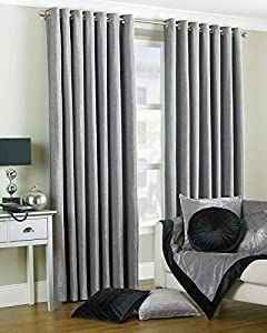 """Duchess Silver Velvet 90x90"""" 229x229cm Lined Ring Top Eyelet Curtains from Curtains"""