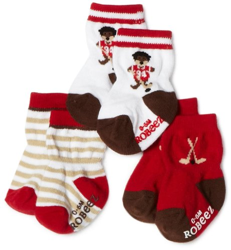 Robeez Baby-boys Infant 3 Pack Hockey Walrus Socks, Red/Multi, 12-24 Months
