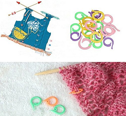 Size Mixed) Colorful Crochet Locking Stitch Marker Knitting Ring Maker ...