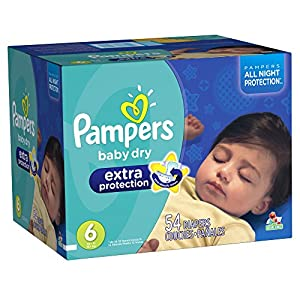 Pampers Baby Dry Extra Protection Diapers Size 6 Super Pack 54 Count (Packaging May Vary)
