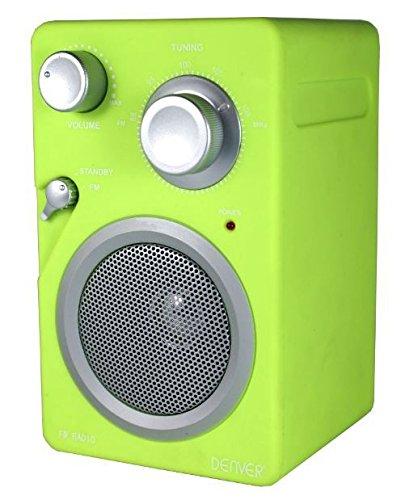 Denver TR-41C Mini Radio UKW Radio Tuner (AUX-IN für MP3-Player oder Smartphones, Retro-Look,Netz- und Batterie-Betrieb) grün