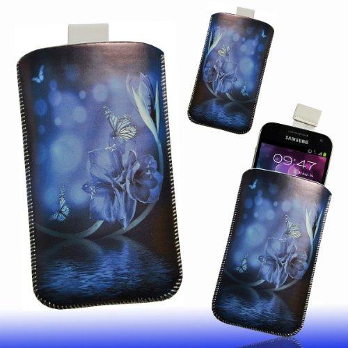 Handy Tasche Etui Hülle Case schwarz / blau Butterfly DK6 Gr.3 für Samsung C3312 Rex60 / S5222R Rex80 / Galaxy Young S6310 / Galaxy Young Duos S6312 / Galaxy Pocket Plus S5301 / Samsung Galaxy Pocket Neo S5310 / Alcatel OT 903D / Alcatel OT Star 6010D