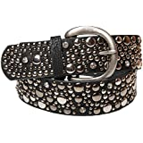 styleBREAKER studded belt in vintage style, wide women's belt with studs and rhinestones, shortened 03010020