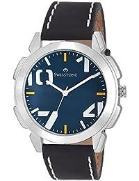 Swisstone SW-GR102-BLU-BLK Blue Dial Black Strap Analog Wrist Watch For Men/Boys