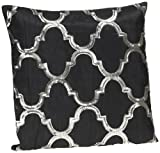 Shahenaz Home Shop Kyrah Sequence Geometry Poly Dupion Cushion Cover - Black