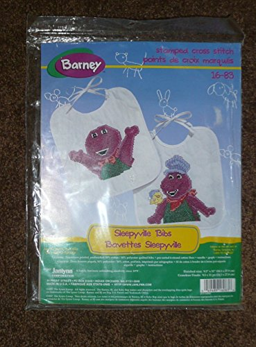 Janlynn Stamped Cross Stitch Sleepyville Bibs (Barney)