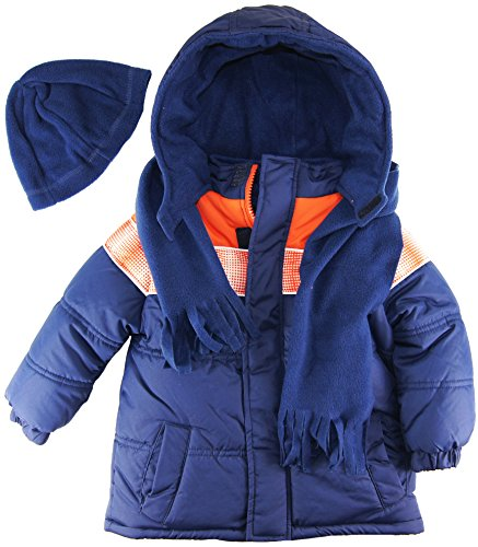 Ixtreme Little Boys Puffer Hooded Winter Jacket With Scarf And Hat Set, Navy, 4T front-1009478