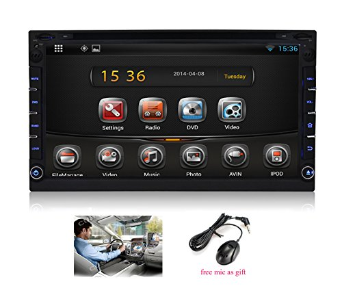 "Pumpkin 6.95"" Android 4.2 Universal In Dash Hd Touch Screen Car Dvd Player Double Din Gps Navigation Stereo Am/Fm Radio Support Sd/Usb/Bluetooth/3G/Wifi/Obd2/1080P/Dvr With Free External Microphone As Gift"