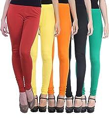Vimal Pack Of 5 Multicolor Cotton Lycra Leggings For Women
