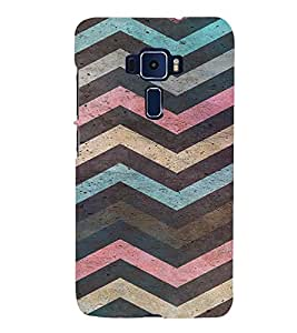 PrintVisa Colorful Chevron Pattern 3D Hard Polycarbonate Designer Back Case Cover for ASUS ZENFONE 3 Deluxe