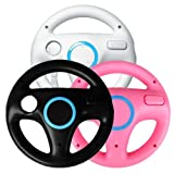 Generic 3 x pcs Black White Pink Steering Mario Kart Racing Wheel for Nintendo Wii Remote Game