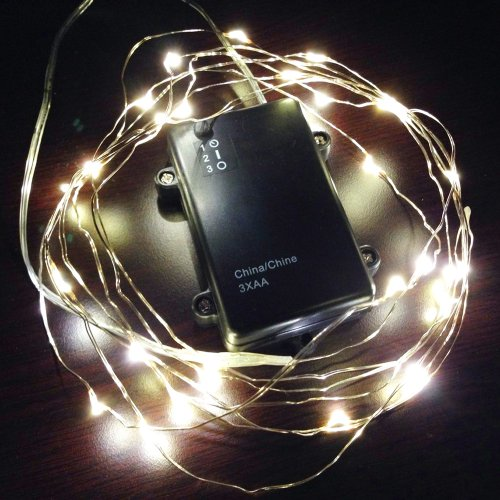 10Ft (3M) 30 Leds Fairy Led Wire String Lights - Starry Starry Lights W/ Timer Battery Box For Festival, Christmas, Wedding, Holiday And Party - Warm White - Waterproof, Battery Powered Thl-01
