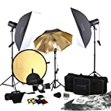 Square Perfect 5080 SP3500 FLASH KIT Complete Portrait Studio Kit with Flashes Softboxes Gels and Barn Door ~ Square Perfect