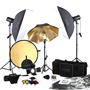 Square Perfect 5080 SP3500 FLASH KIT Complete Portrait Studio Kit with Flashes Softboxes Gels and Barn Door