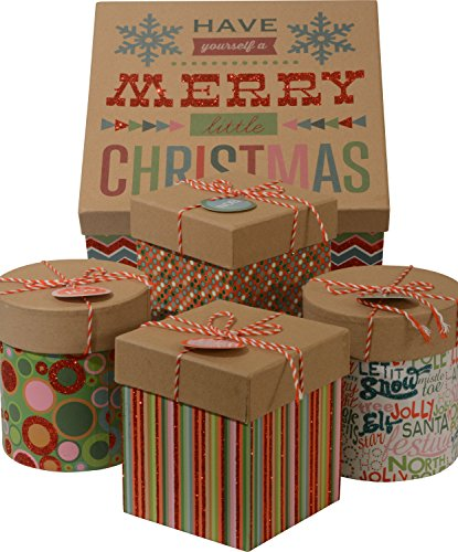5 Piece Christmas Nested Gift Boxes 1 Large Box With 4 Small Inside Fancy Decorative Glitter With String Round And Square Minis Nested