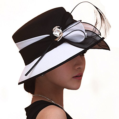 Women Hat Formal Dress Hat Polyester Fabric Feather Two Tone Colors (Black/white)