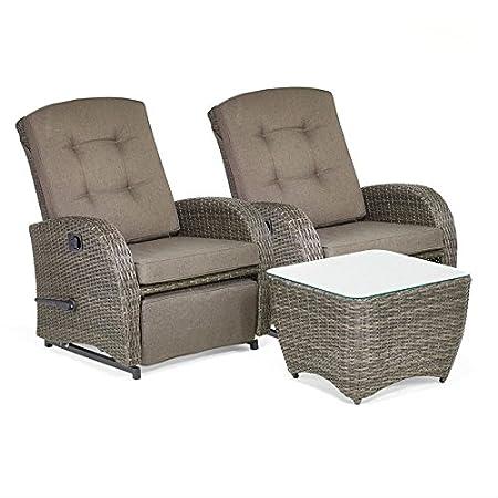 Bellevue 2-Seater Reclining Rattan Garden Furniture Set