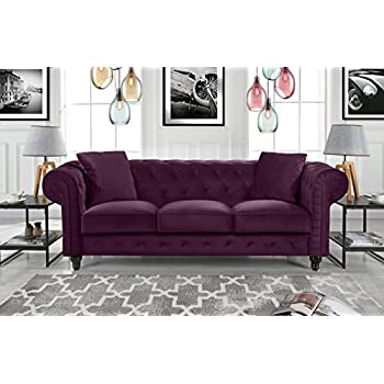 Divano Roma Furniture Classic Velvet Scroll Arm Tufted Button Chesterfield Sofa (Purple)