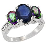 14K White Gold Diamond Natural Blue Sapphire Ring 3-Stone Oval 8x6mm with Mystic Topaz, sizes5-10