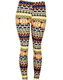 Fun Complimentary Color Blue and Orange Pattern Stretch Leggings