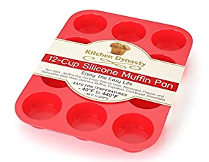 Kitchen Dynasty Non-Stick Silicone Muffin Pan (12 Cup Set, Red)