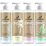 Art Naturals Hand Sanitizer, 4 Pack - 7.4 oz each - 100% Natural w/Jojoba Oil, Aloe Vera & Glycerin Infused Formula - Set Includes of Scent Free, Coconut, Lavender, Tea Tree