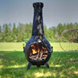 Blue Rooster - ALCH001-CH - Grape Leaf Cast Aluminum Chiminea - Charcoal - Large