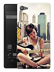 """Humor Gang Trendy Girl Playing Guitar Printed Designer Mobile Back Cover For """"Sony Xperia Z5 Mini - Compact"""" (3D, Matte, Premium Quality Snap On Case)"""