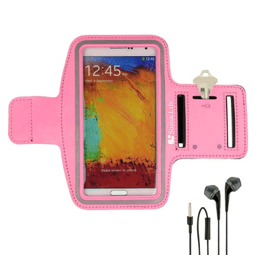 Sumaclife Armband - Gummy Pink Sport Workout Neoprene W/ Key & Earphone Holder Fits Htc One M8 Android Phone + Black Handsfree Microphone Headphones